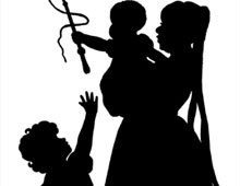 Silhouette of a Woman with a Baby and Child - Silhouette Art