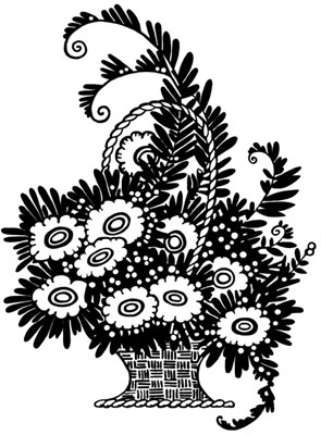 A Basket of Flowers from Silhouette Art