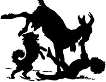 Silhouette of a Boy and Dog with a Goat - Silhouette Art