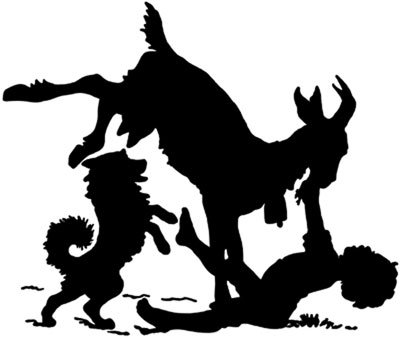 Silhouette of a Boy and a Dog with a Goat - Silhouette Art