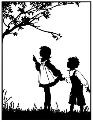 Silhouette of a Boy and Girl at a Bird's Nest - Silhouette Art