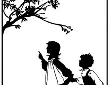 A Silhouette of a Boy and a Girl Looking at a Bird's Nest - Silhouette Art