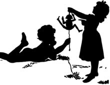 Silhouette of a Boy and Girl Playing - Silhouette Art
