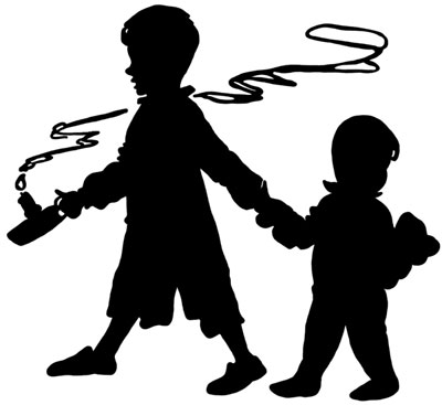 Silhouette of Two Boys with a candle and a teddy bear - Silhouette Art