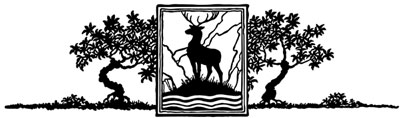 Silhouette of a Buck Standing Between Trees - Silhouette Art