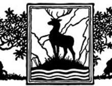 A Buck Standing Between Two Trees - Silhouette Art