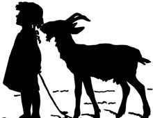 Silhouette of a Girl with a Goat - Sillhouette Art