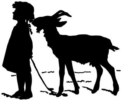 Silhouette of a Girl with a Goat - Silhouette Art