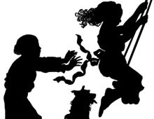 Silhouette of Children on a Swing - Silhouette Art
