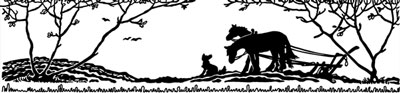 Silhouette of Horses Plowing with a Dog - Silhouette Art