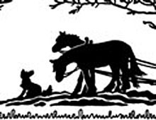 Dog with Horses Plowing a Field - Silhouette Art
