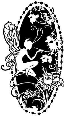Silhouette of Fairy Painting Flowers - Silhouette Art