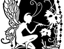 Fairy Painting Flowers - Silhouette Art