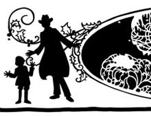 Silhouette of a Family and a House - Silhouette Art