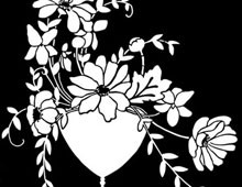Silhouette of Flowers in a Vase - Silhouette Art