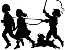Silhouette of Children and Dog Playing - Silhouette Art