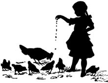 Silhouette of a Girl Feeding Chickens - Silhouette Art
