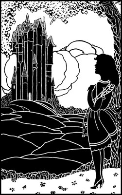 Silhouette of a Girl Standing in front of a Castle - Silhouette Art