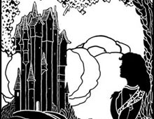 Silhouette of a Girl Standing in front of a Castle