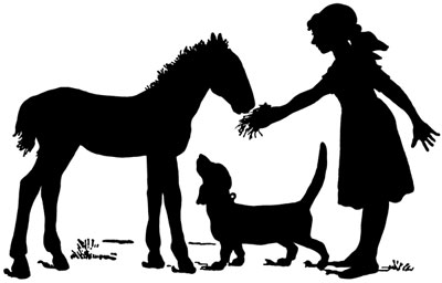 Silhouette of a Girl with a Horse and a Dog - Silhouette Art