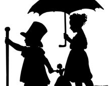 Silhouette of Girls with an Umbrella and Dog - Silhouette Art