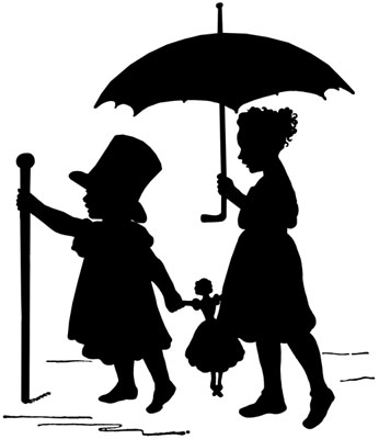 Silhouette of Girls with an Umbrella and a Dog - Silhouette Art