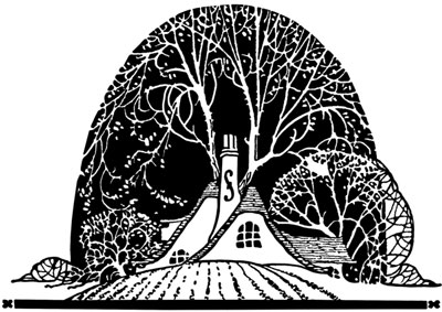 A House Surrounded by Trees - Silhouette Art