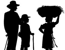 Silhouette of a Girl Carrying Straw - Silhouette Art