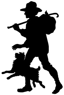 Silhouette of a Man Walking with a Dog - Silhouette Art