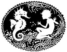 Silhouette of a Nymph with a Seahorse - Silhouette Art