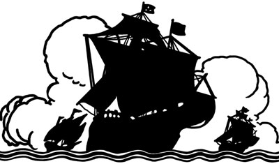 Silhouette of a Sailing Ships at Sea - Silhouette Art