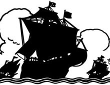 Silhouette of Sailing Ships at Sea - Silhouette Art