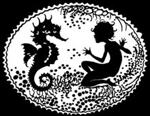 Silhouette of a Sea Nymph with a Sea Horse - Silhouette Art