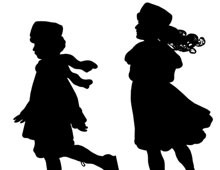 Silhouette of Girls Ice Skating - Silhouette Art