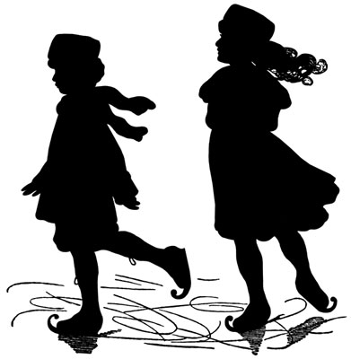 Silhouette of Two Girls Ice Skating - Silhouette Art