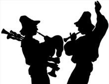 Silhouette of Two Men with Instruments - Silhouette Art