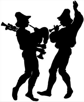 Silhouette of Men Playing Instruments - Silhouette Art
