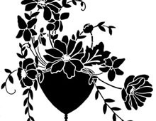 Silhouette of a Vase of Flowers - Silhouette Art