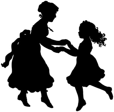 Silhouette of a Woman and Child Dancing - Silhouette Art