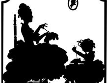 Silhouette of a woman and Child Doing Embroidery - Silhouette Art