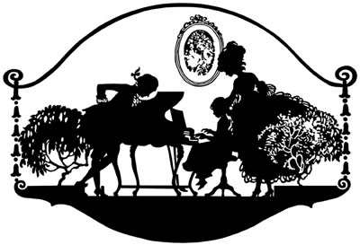 Silhouette of a Man, Woman, and Child at the Piano - Silhouette Art
