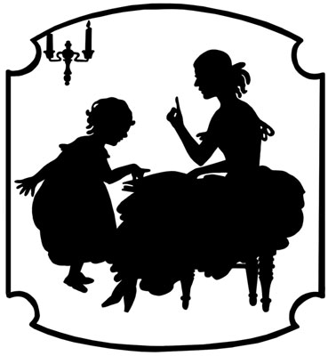 Silhouette of a Woman Reading to a Little Girl - Silhouette Art