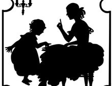 Woman Reading a Book to a Girl - Silhouette Art