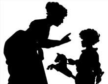 Silhouette of a Woman Scolding a Boy - Silhouette Art