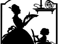Silhouette of a Woman serving Pie to a Girl - Silhouette Art
