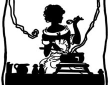 Silhouette of a Woman Cooking - Silhouette Art