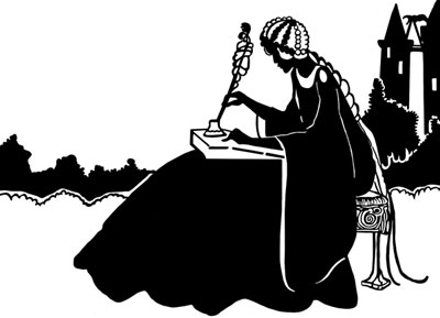 Silhouette of a Woman Writing in Garden