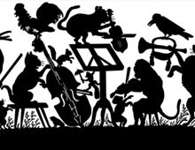 Silhouette of Animals Playing Instruments