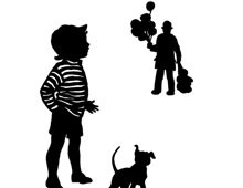 Silhouette of a Boy and Balloon Man