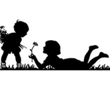 Silhouette of Children Picking Flowers
